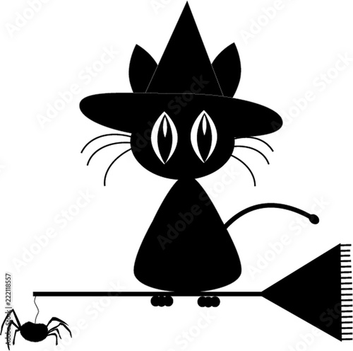 fc7ca523 Black silhouette of cute black cat in witch hat sitting on the ...