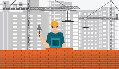 Construction business .Master lays a brick wall - light background - construction, cranes, buildings - art vector