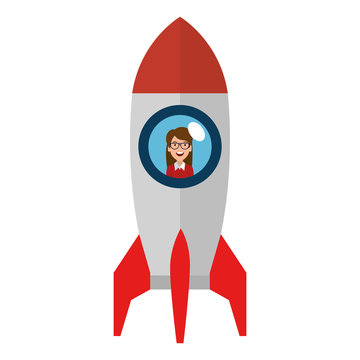 young woman in rocket startup