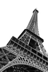 Poster Centraal Europa Beautiful view of the Eiffel tower seen from beneath in Paris, isolated in black and white