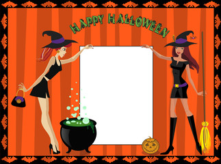 Template with cute witches holding sheet