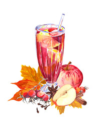 Autumn hot beverage with apples, berries, spicies, autumn leaves. Watercolor for tea time