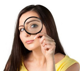 Portrait of a Woman Looking Through Magnifying Glass