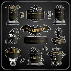Halloween Design Labels Silver with Gold Set