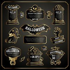 Halloween Design Labels Black and Gold Set