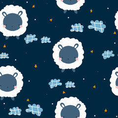 Childish seamless pattern with cute sheep and night sky. Vector hand drawn illustration.