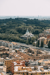 Vatican city, St. Peter's square. The view from the top and inside. Ancient architecture of Rome and the sights. Sculptures and Frescoes of great artists. Vatican Museum inside. Panoramic view
