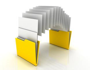 Copy folders concept . 3d illustration