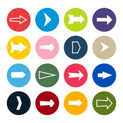 Set of sixteen arrows in a colorful circles. Vector illustration