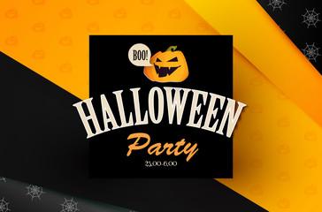 Happy Halloween Vintage Design Template with Smilling Pumplin.