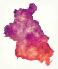 Idlib governorate watercolor map of Syria in front of a white background