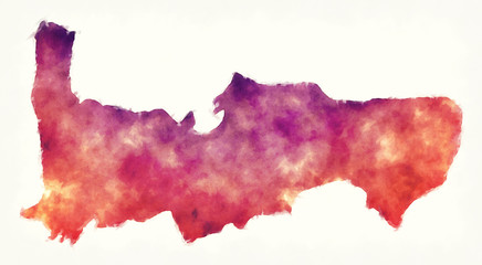 Hama governorate watercolor map of Syria in front of a white background