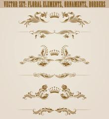 Set of filigree damask ornaments. Floral golden elements,