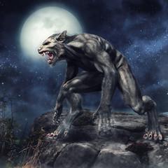 Wilkołak stojący na klifie na tle pełni księżyca