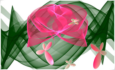 Computer generated 3D fractal.Bright digital cover design.Flower greeting card with the image of pink butterflies and pink roses on a green transparent stem.