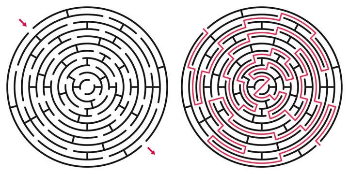 Abstract circle maze / labyrinth with entry and exit. Vector labyrinth 240.