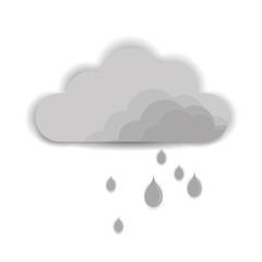 Cloud rain on white background. Grey rainstorm design.