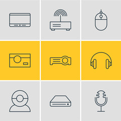Vector illustration of 9 accessory icons line style. Editable set of hard drive, projector, photo camera and other icon elements.