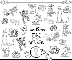one of a kind with Halloween characterss color book