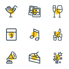 Vector illustration of 9 event icons line style. Editable set of event day, wineglass, petard and other icon elements.