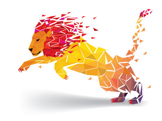 Lion Low polygon geometric pattern explode - Vector illustration