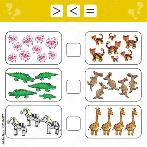 learning mathematics numbers choose more less or equal tasks for addition for preschool. Black Bedroom Furniture Sets. Home Design Ideas
