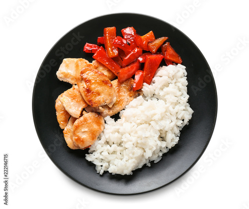 Tasty Boiled Rice With Meat And Pepper On Plate Isolated On