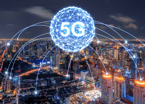 concept of future technology 5G network wireless systems and internet of things