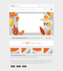 Autumn one page website template with top view of flat design workplace and orange colored autumn leaves.
