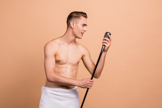 Singing in the shower, rest, relax concept. Profile side view ph