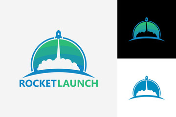 Rocket Launch Logo Template Design Vector, Emblem, Design Concept, Creative Symbol, Icon