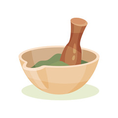 Mortar with green medical mixture and wooden pestle. Item used in pharmacy. Healthcare and alternative Flat vector icon