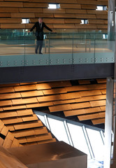Architect, Kengo Kuma, stands inside the V & A musuem in Dundee, Scotland