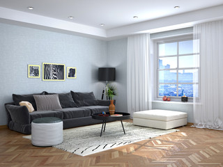 Interior design of the living room with a gray sofa. 3d illustration