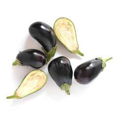 Fototapete - Eggplants isolated on white background top view