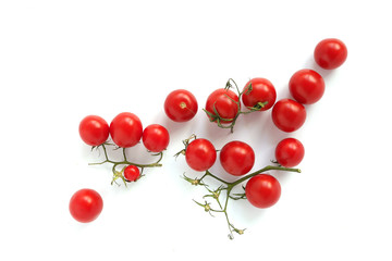 Fototapete - composition of cherry tomatoes isolated on white background.