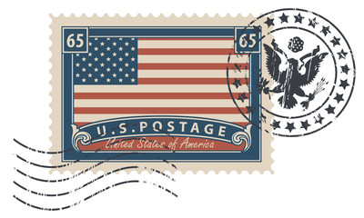 Postage stamp with inscriptions and image of the American flag. Vector illustration of USA stamp with a scratched print.