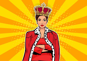 Acrylic Prints Pop Art Business queen. Businesswoman with crown. Woman leader, success boss, human ego. Vector retro pop art comic drown illustration.