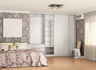 illuminated room, built-in wall closet and a bed near the wall. 3d illustration