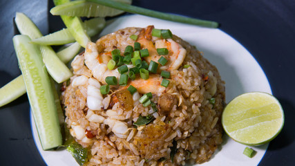 food shrimp fried rice and vegetables