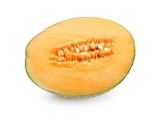 Half of sweet ripe melon on white background