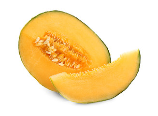Cut ripe sweet melon on white background