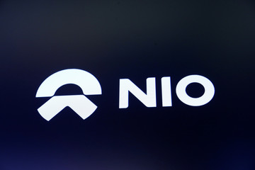 Chinese electric vehicle start-up Nio Inc. company logo is on display on its initial public offering (IPO) day at the NYSE in New York