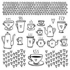 Set of black and white cups, pots, hearts and dots isolated on white background for cards.