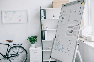 flipchart with business project strategy, bicycle near wall in light modern office