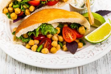 Veggie Pitas with Garbanzo Bean or Chickpea Salad. Selective focus.
