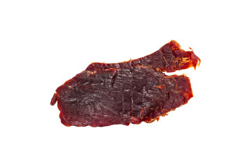 Beef Jerky Macro Isolated on White Background. Selective focus.