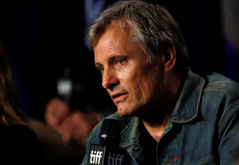 """Actor Viggo Mortensen talks during a news conference to discuss the movie """"Green Book"""" at the Toronto International Film Festival in Toronto"""