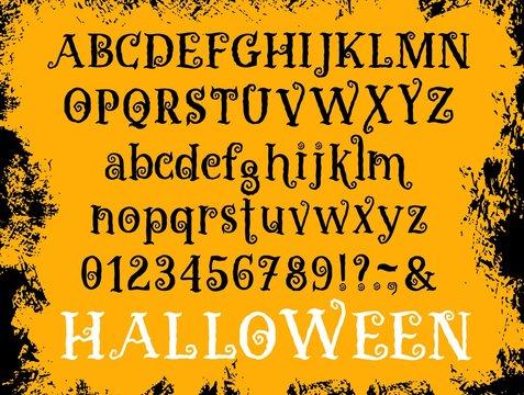 Halloween cartoon type font vector set