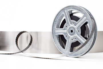 movie film reel on white background